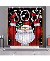 メリークリスマスサンタクロースと12のフック、装飾的なポリエステル布のバスカーテン、新年の浴室装飾機械洗濯機が付いている雪だるまのシャワーのカーテン (Color : C, Size : 80*180cm)