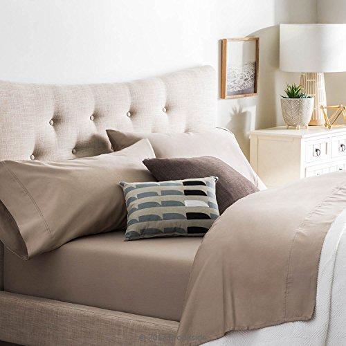 Brookside - Cotton Blend Sheet Set - Wrinkle Resistant - Rich Cotton Look and Feel - Easy Care Fabric - Deep Pocket Design - Split California King - Sandstone
