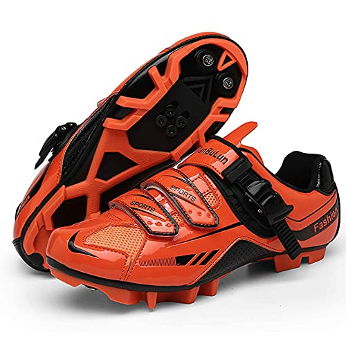 Zapatos De Ciclismo para Hombre Zapato De Bicicleta De Carretera MTB Zapatos De Bicicleta con Tacos Zapatos De Ciclismo De Montaña Al Aire Libre Compatibles con Tacos SPD/SPD-SL,Naranja,47 EU