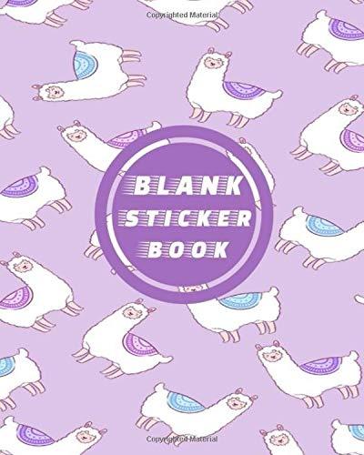 Blank Sticker Book: Purple Lama Alpaca Blank Sticker Album 100 Pages 8x10; Sticker Album for Collecting Stickers, (My Sticker Album Collection, Band 1)