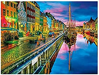 DIY Paint by Numbers Kit for Adults - Sunset in Copenhagen | Paint by Number Kit On Canvas for Beginners | Home Wall Decor...
