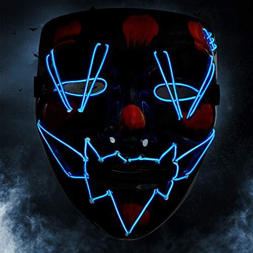 KOROSTRO Maschera Halloween LED, Maschere a LED Viso 4 modalità, Halloween la Maschere Cosplay Maschera Carnevale, LED Maschera per Christmas Party Festa Costume DecorazioneLuci Si Illuminano al Buio