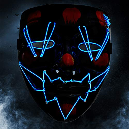 KOROSTRO Halloween Maske LED, Light EL Wire Cosplay Maske mit 3 Blitzmodi für Halloween Fashing Karneval Party Kostüm Cosplay Erwachsene Masken Batterie Angetrieben(Nicht Enthalten) (Blau)
