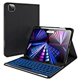 2021 iPad Pro 11 inch Case with Keyboard - iPad Pro 11 2020 & 2018, iPad Air 4th Generation, Apple Pencil Charging Holder, Wireless 7 Color Backlit Keyboard, Slim Leather Folio Smart Cover (Black)