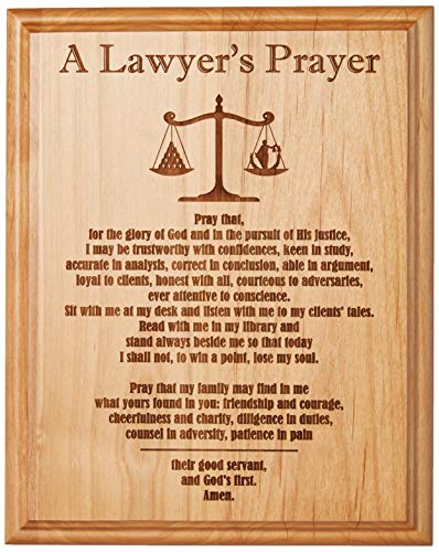 Etching Memories A Lawyer's Prayer Engraved on 8' by 10' Red Alder with Balance Image, with Lady Justice.