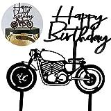 Topper per Torte, Topper per Torta a Forma di Motocicletta, Happy Birthday Topper per Torte, per Torta Compleanno Uomo, Partito(Nero)