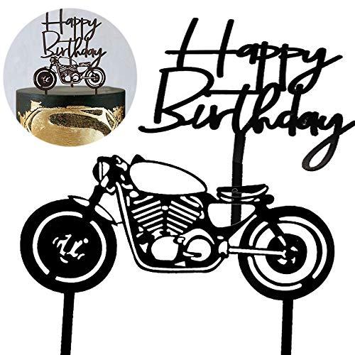 2 Stück Tortenaufsatz mit Motorrad, Motorrad Kuchen Topper, Birthday Cake Topper, für Geburtstagsfeier, Dekoration Backen Kuchen Lokomotive Stil