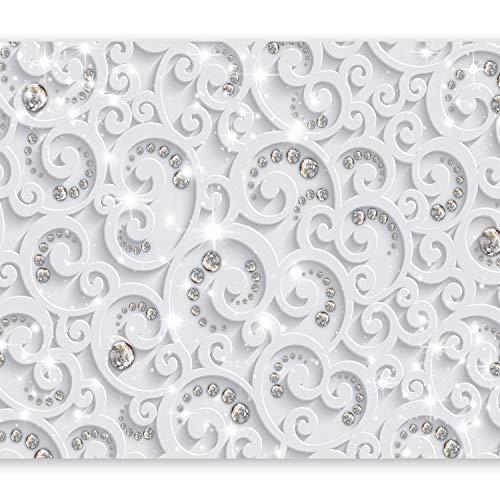 murando Fototapete 3D Effekt 350x256 cm Vlies Tapeten Wandtapete XXL Moderne Wanddeko Design Wand Dekoration Wohnzimmer Schlafzimmer Büro Flur Ornament weiß grau f-C-0218-a-a