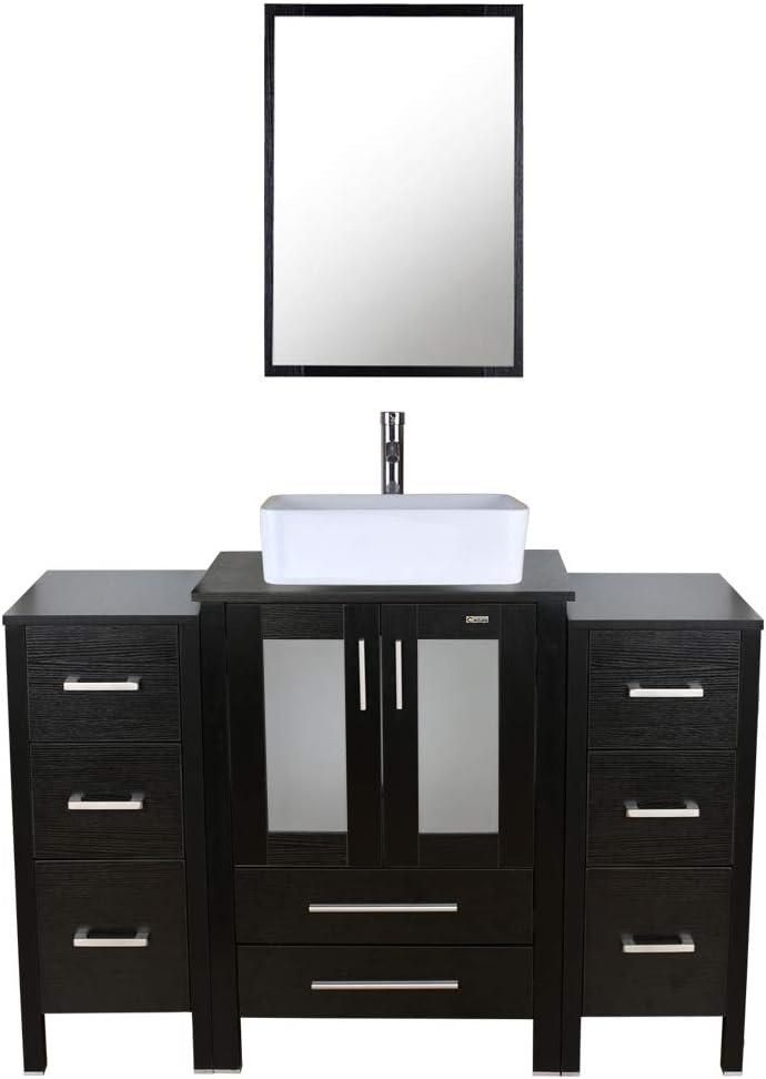 Buy 48 Inch Bathroom Vanity Porcelain Vessel Sink Combo 2 Side Cabinets Eclife Bathroom Vanity Storage Removable Free Stand Vanity 1 5 Gpm Faucet Bathroom Vanity Top Ceramics Rectangle Online In Indonesia B085rxfnlp