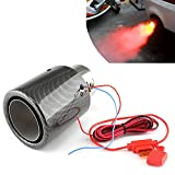 Top10 Racing Carbon Fiber Exhaust Tailpipe Tip Muffler Tips Bolt/Clamp On for Trucks Cars w/LED Light,2.5 Inch Inlet Exhaust Tip 4 Inch Outlet (Red LED)