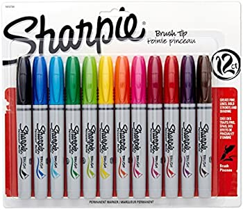 12 Pack Sharpie 1810704 Brush Tip Permanent Markers