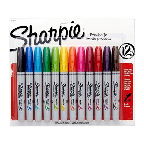 Sharpie Brush tip Permanente Marcadores 12/pkg-assorted Cores