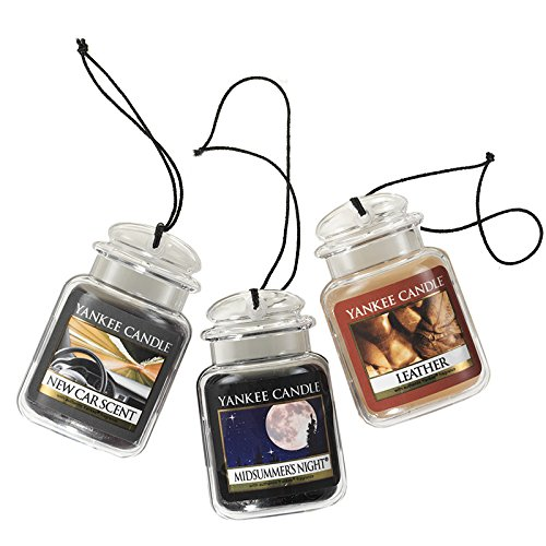 Yankee Candle Car Jar Ultimate Hanging Air Freshener 3-Pack (Leather, Midsummer s Night, and New Car Scent)