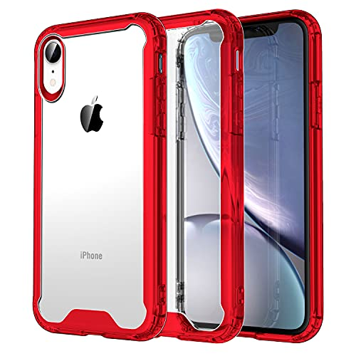 Krichit Shockproof Case for iPhone XR Clear Case Hard PC Back Anti-Scratch, Soft TPU Bumper, Protective Cover for iPhone XR (Red)