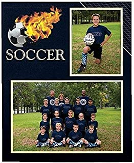 Soccer Player/Team 7x5/3.50x5 MEMORY MATES cardstock double photo frame sold in 10's - 5x7
