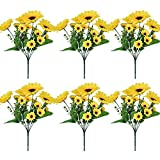 6 Pack Artificial Sunflowers with Stems for Indoor Outdoor 12 inch Fake Silk Sunflower with 13 Sunflower Heads and 27 Green Leaves Decor Home Wedding Party Office (6Pack)