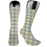 DHNKW Socks Compression Medium Calf Crew Sock,Spanish Portuguese Azulejo Inspired Abstract Natural Pattern With Leaves