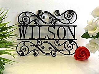 Personalized Last Name Sign Acrylic Laser Cut Signs Family Sign for Outdoor Use Custom House Sign Monogram Garden Front Door Sign Wedding Gift Hanger Housewarming Hanging Wall Decor Any Name and Color