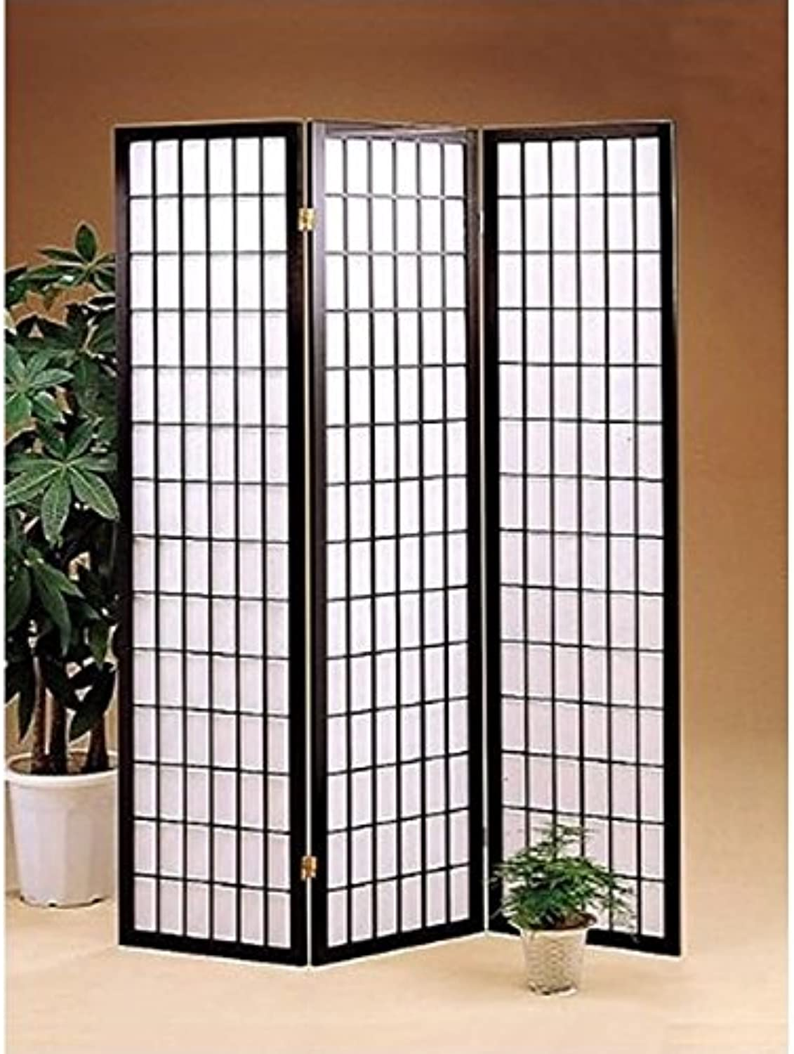 Bowery Hill Three Panel Screen Room Divider in Black