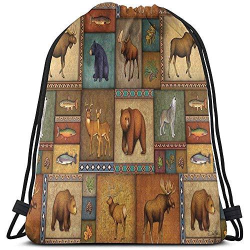 Arvolas Turnhalle Drawstring Bags Rustikale Wildlife Bear Deer Moose Wolf String Pull Bag String Rucksack