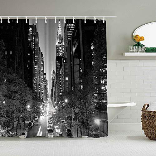 PbbrTK Cortina de baño Repelente al Agua,Arquitectura Nueva York Rascacielos de Tudor USA Black,Cortinas de baño de poliéster de diseño 3D con 12 Ganchos,tamaño 180 x 210cm