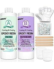 Epoxy hars transparante 433 g/400 ml kit – 1: 1 Ratio Revêtement en résine époxy cristalline voor bois, bar, table, fabrication de bijoux, décoration artisanale