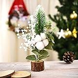 Wavel Mini árbol de Navidad artificial, mini árboles de pino base de madera adornos para mesa escritorio de Navidad fiesta regalo decoración del hogar
