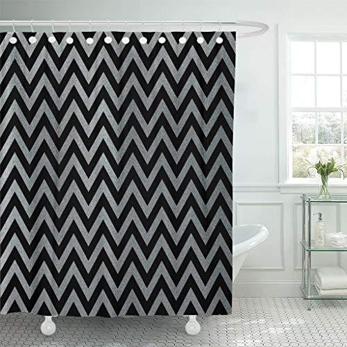 JOOCAR Cortina de ducha de diseño, rayas grises plateadas sobre patrón abstracto de chevrón, pintura brillante, tela impermeable, juego de decoración de baño con ganchos