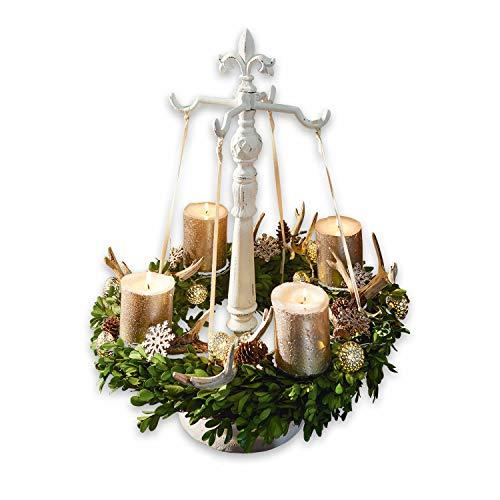 Loberon Kranzständer Antwan, Weihnachtsdeko, Christbaumschmuck, Gusseisen, H/Ø ca. 59/24.5 cm, antikweiß