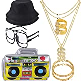 YAROMO 12 Pieces 80s/ 90s Costume Kit, Hip Hop Rapper Accessories Hat, Sunglasses, Gold Chain, Bucket Hat, Boom Box,Gold Rapper Chain Bracelet and Ring with Dollar Sign Pendant