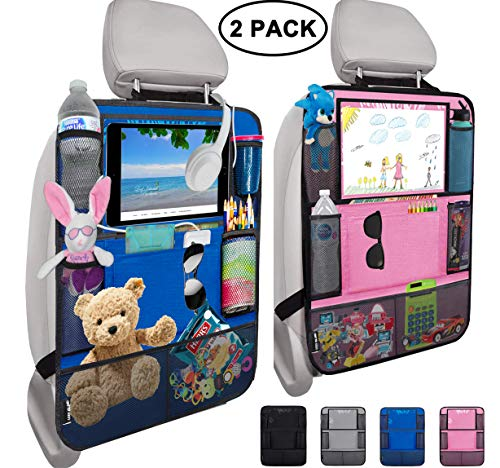 "Leef Island Backseat car Organizer – 10"" Tablet Holder with 2 Cable Slots, 9 Storage Pockets,..."
