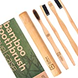 OAK ORGANIC Charcoal Toothbrush – Get Sparkling Clean Teeth – Natural Soft Bamboo Charcoal Toothbrush with Travel Case – Biodegradable Wooden Eco Toothbrush – 4 Set - EARTH, AIR, FIRE, WATER