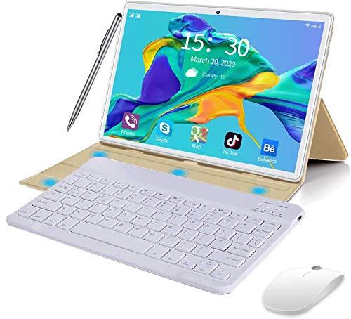 Tablet 10 Pollici Android 10.0 Originale 4GB RAM 64GB ROM+Espanso 128GB con Schermo IPS HD Quad Core 1.6GHz Tablets Dual LTE SIM con WIFI |8000mAh |Bluetooth |GPS |Type-C con Tastiera e Mouse (Oro)