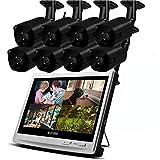 Lvreby IP CAM 1080P 2MP Seguridad IP cámara Wi Fi Video vigilancia Kit Grabador inalámbrico NVR LCD Monitor CCTV Set al Aire Libre Home-2/4/6/8CH 2TB TF Tarjeta,8CH