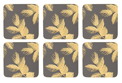 Sara Miller for Portmeirion Dessous de Verre Motif Feuilles gravées, Céramique, Gris, 30 x 40 x 3 cm