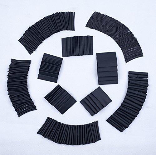 SummitLink 415 Pcs Black Assorted Heat Shrink Tube 10 Sizes Tubing Wrap Sleeve Set Combo