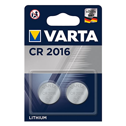 VARTA CR 2016, 6016101402, Batteria Litio a Bottone, Piatta, Specialistica, 3 Volts, Diametro 20mm, Altezza 1,6mm, confezione 2 pile