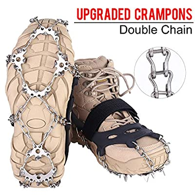 VANGAY Crampons 19 Spikes Stainless Steel Anti-Slip Ice Cleats for Shoes Boots, Durable Chain, Spikes and Silicone Ice Snow Grips for Walking Climbing Jogging Hiking Fishing Black XL