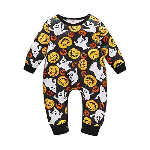 Lazzboy Neugeborenes Baby Mädchen Halloween Kürbis Kostüm Strampler Overall Outfits Newborn Infant Boy Girl Pumpkin Costume Romper Jumpsuit(Schwarz,Höhe:70)