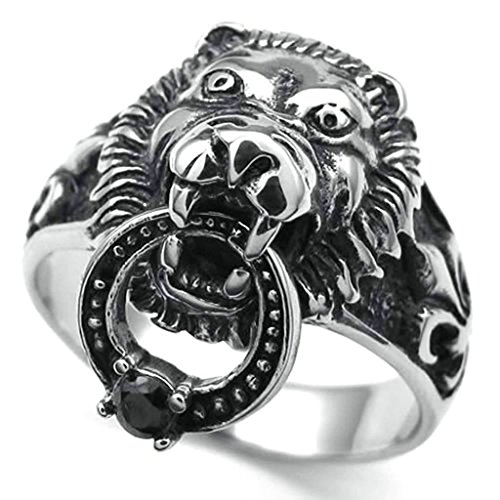Daesar Homme Bagues Acier Inoxydable Anneau Homme Gothic CZ Anneau Lion Bagues Argent Noir Anneau Taille:61.5