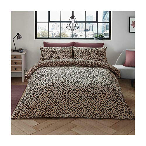 Leopard Skin Print Duvet Cover Set Reversible King Size Bed with Pillowcases, Leopard Skin - Natural