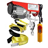 (Bundle Items) Partsam 440 lbs Lift Electric Hoist Crane Remote Control Overhead Crane Garage Ceiling Pulley Winch Bundled with Towing Strap 12Feet x 2inch (w/Emergency Stop Switch)