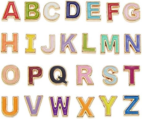 JJGrace 26 Pieces Initial Alphabet Letter Charms Beads A Z Letter Enamel Spacer Beads Multicolour product image
