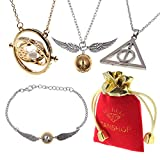 Juego de Collar Inspirado en Harry Potter - Time espátula Deathly Hallows Dorado Snitch Link Pulseras para los Regalos Collection Magical Cosplay Costume Jewelry Gift