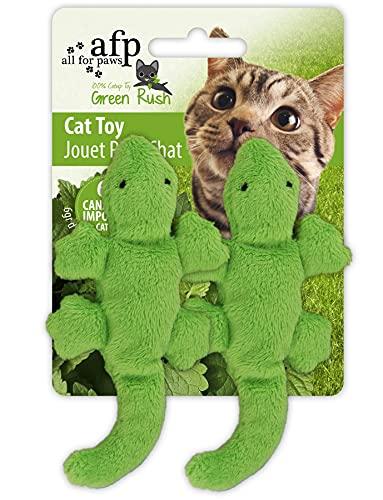 All for Paws Green Rush - Set di 2 giocattoli per gatti con gattino Gecko, 9 x 4 x 1 cm, colore: Verde