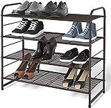 Simple Trending 4-Tier Stackable Shoe Rack, Expandable & Adjustable Shoe Organizer Storage Shelf, Wire Grid, Bronze