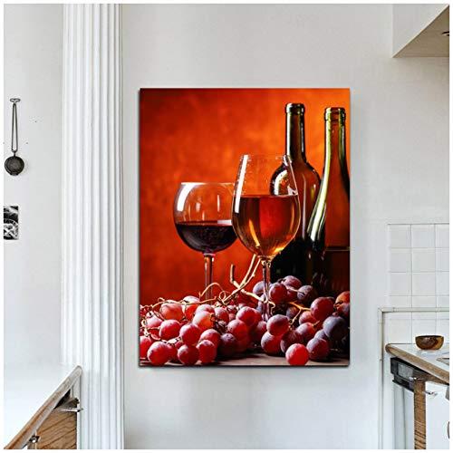 ZQXXX Cuadro de lienzo de cocina de vino tinto, carteles nórdicos e impresiones, cuadro artístico de pared para decoración de habitación de restaurante, 50x75cm sin marco