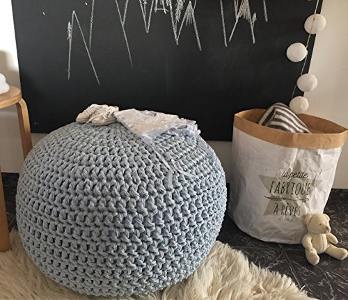 Baby Blue Nursery Foot stool Pouf Ottoman-Light Blue Nursery Decor-Furniture Crochet Floor Cushions -Kids Knit Bean Bag-Baby Shower Gifts