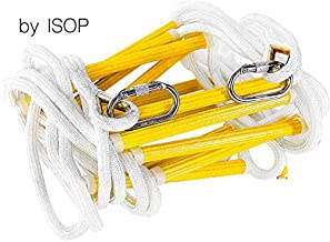 ISOP Emergency Fire Escape Ladder 25 ft (8m) Flame Resistant Safety Rope Ladder with Carbines – Fast to Deploy & Easy to Use - Compact & Easy to Store - Weight Capacity up to 2000 Pounds (25ft)