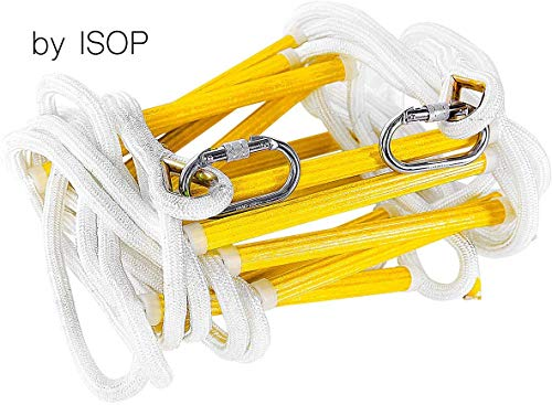 ISOP Emergency Fire Escape Ladder 8-25 ft Flame Resistant Safety Rope Ladder with Hooks – Fast to Deploy & Easy to Use - Compact & Easy to Store - Weight Capacity up to 2000 Pounds (25ft)